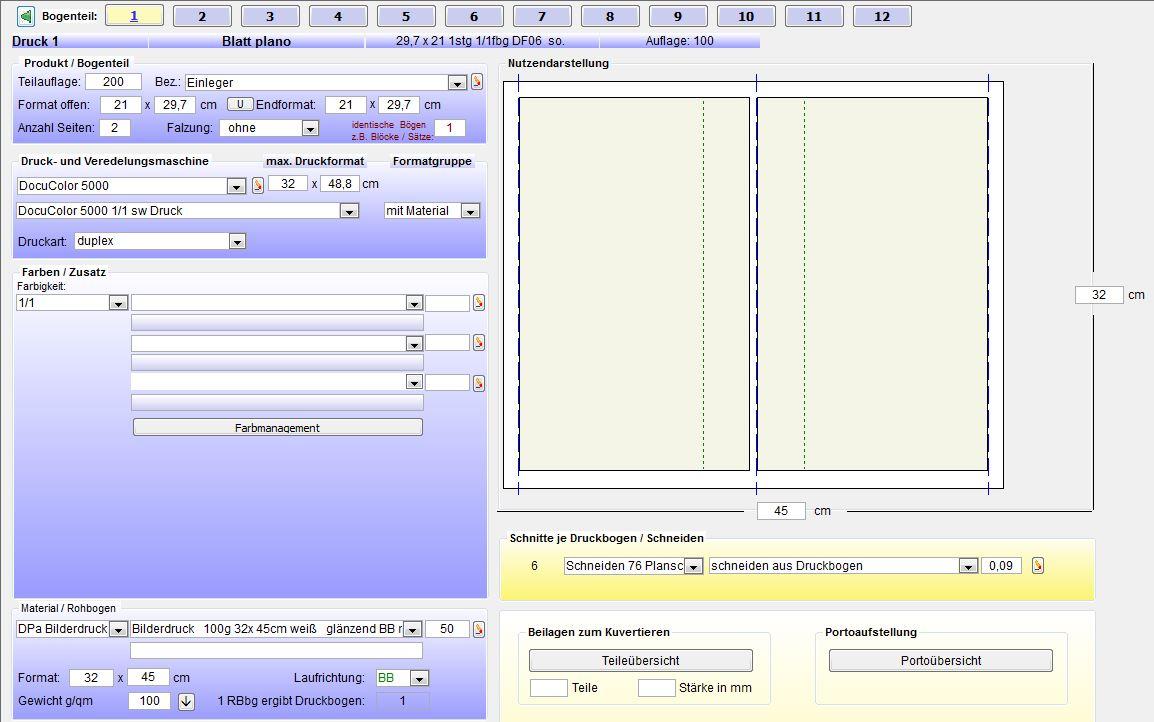 Digitaldruck Bogenoptimierung