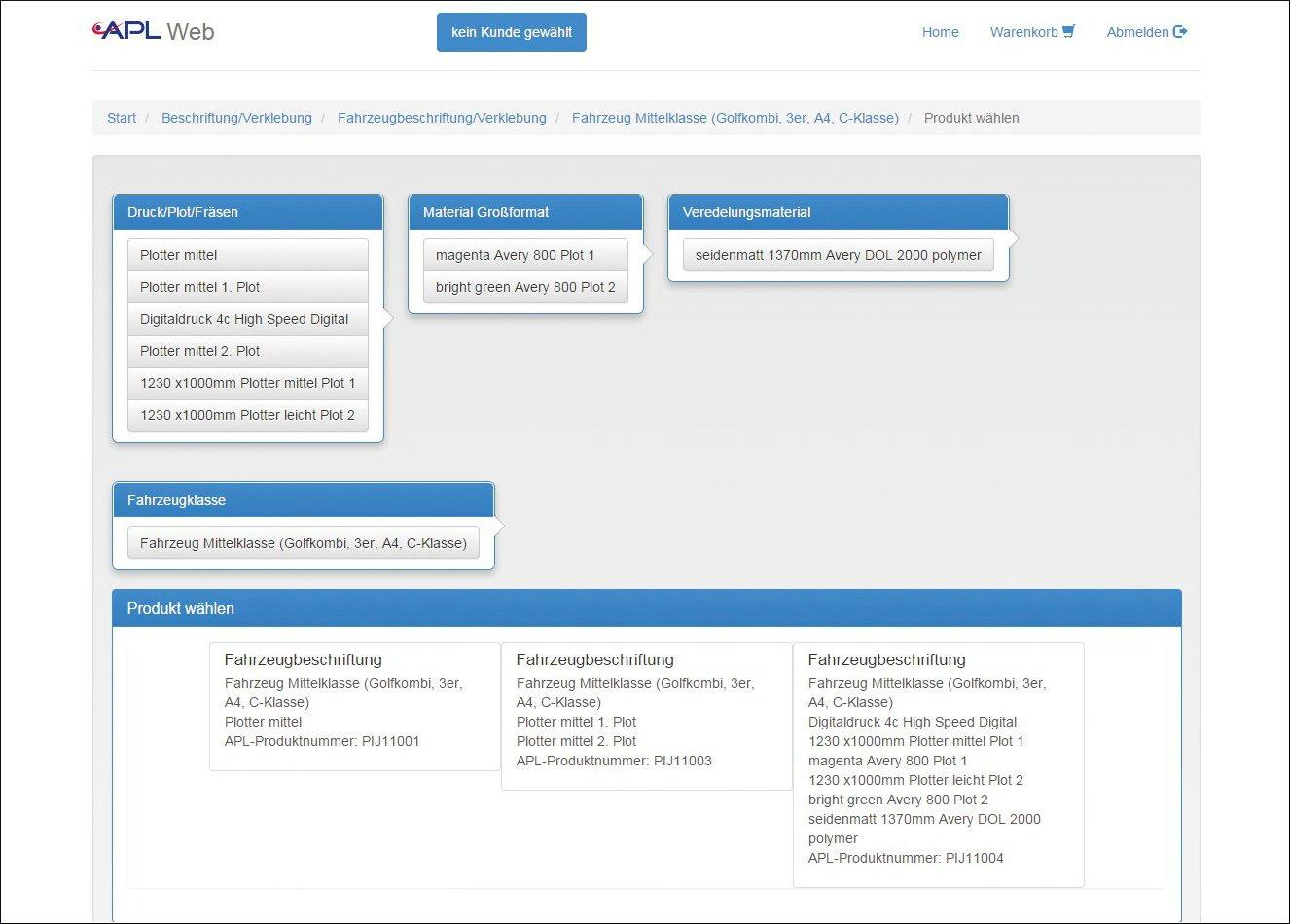 Produktkonfigurator Werbetechnik