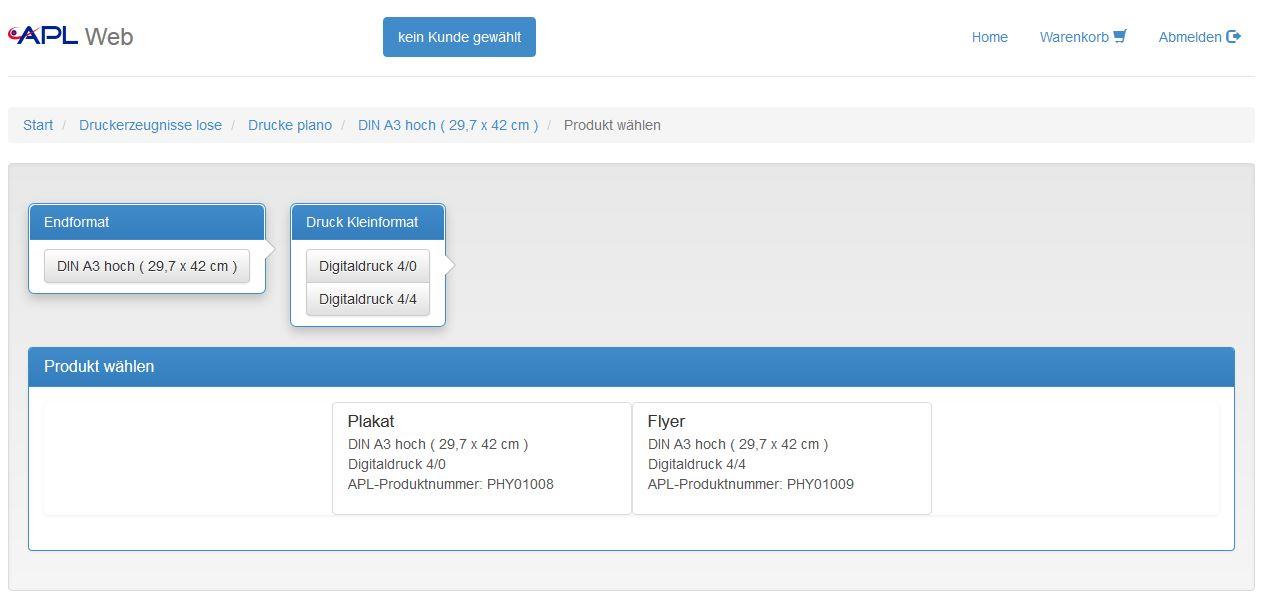Screenshot APL-Produktkonfigurator für Druckereien