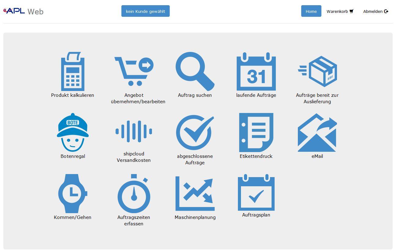 Screenshot APL-Weboberfläche